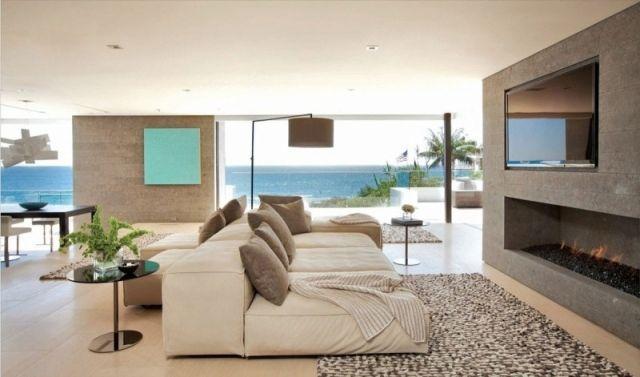 liegecouch wohnzimmer-lcd fernseher-kaminofen stehlampe-design - wohnzimmer design modern mit kamin
