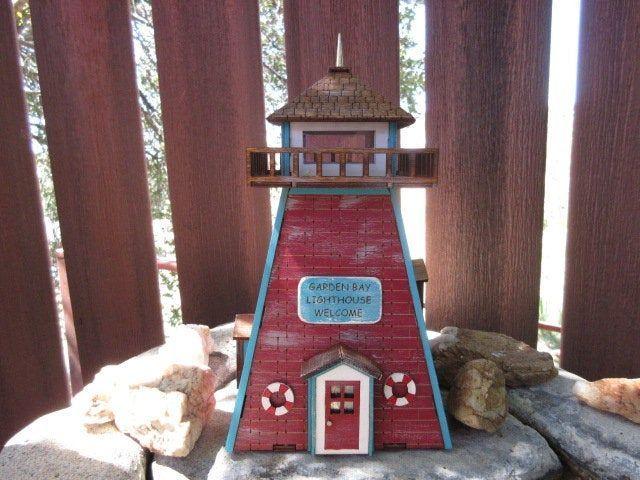 Miniature Rustic Garden Bay Lighthouse fairy garden beach ocean decor accessories Miniature Rustic Garden Bay Lighthouse fairy garden beach ocean decor accessories