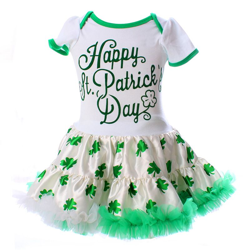 c98e946ae974 Happy St. Patrick s Day Baby Clothing Bodysuits Dresses Spring Green ...