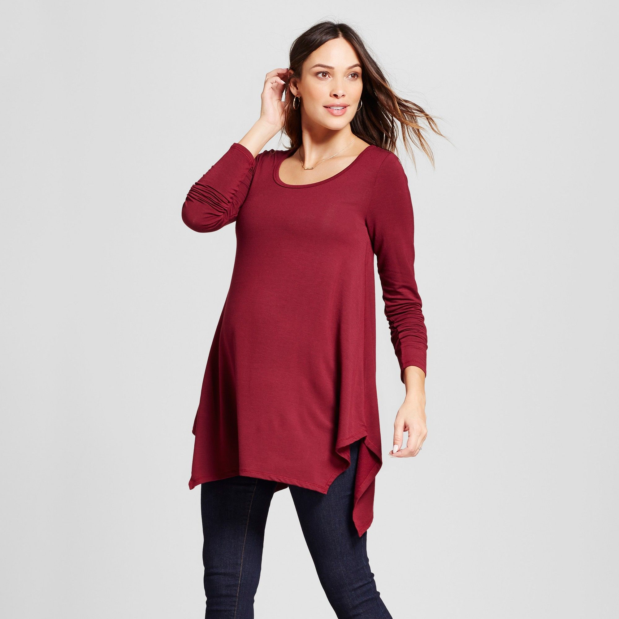 55eef9463d267e Maternity Long Sleeve Handkerchief Tunic - Isabel Maternity by Ingrid    Isabel Boysenberry Red XL