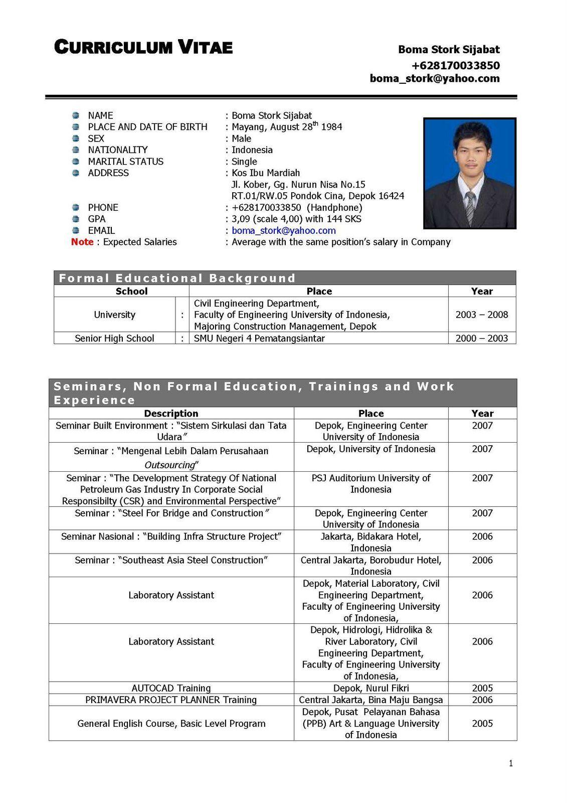 contoh resume pdf bahasa inggris