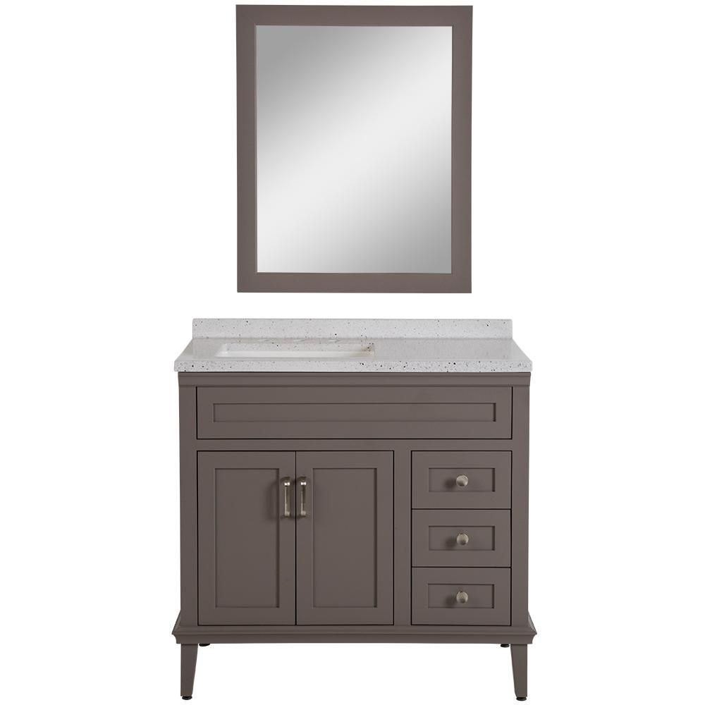 Home Decorators Collection Abbotsford 37 6 In W Vanity In Taupe Gray With Solid Surface Vanity Top In Silver Solid Surface Vanity Top Vanity Bathroom Furniture