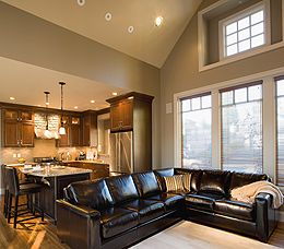 L Shaped Couch Divides Open Kitchen To Living Room Area I Love The