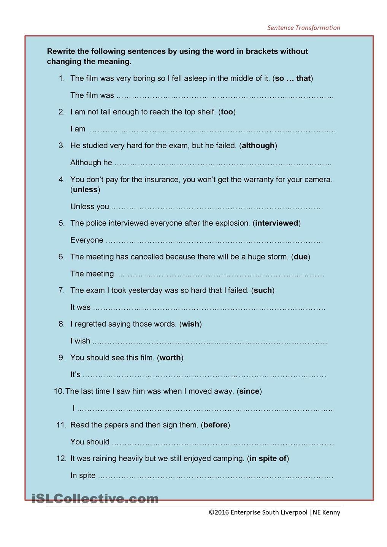 Workbooks transformation worksheets : Sentence Transformation | Paraphrasing | Pinterest | Sentences ...