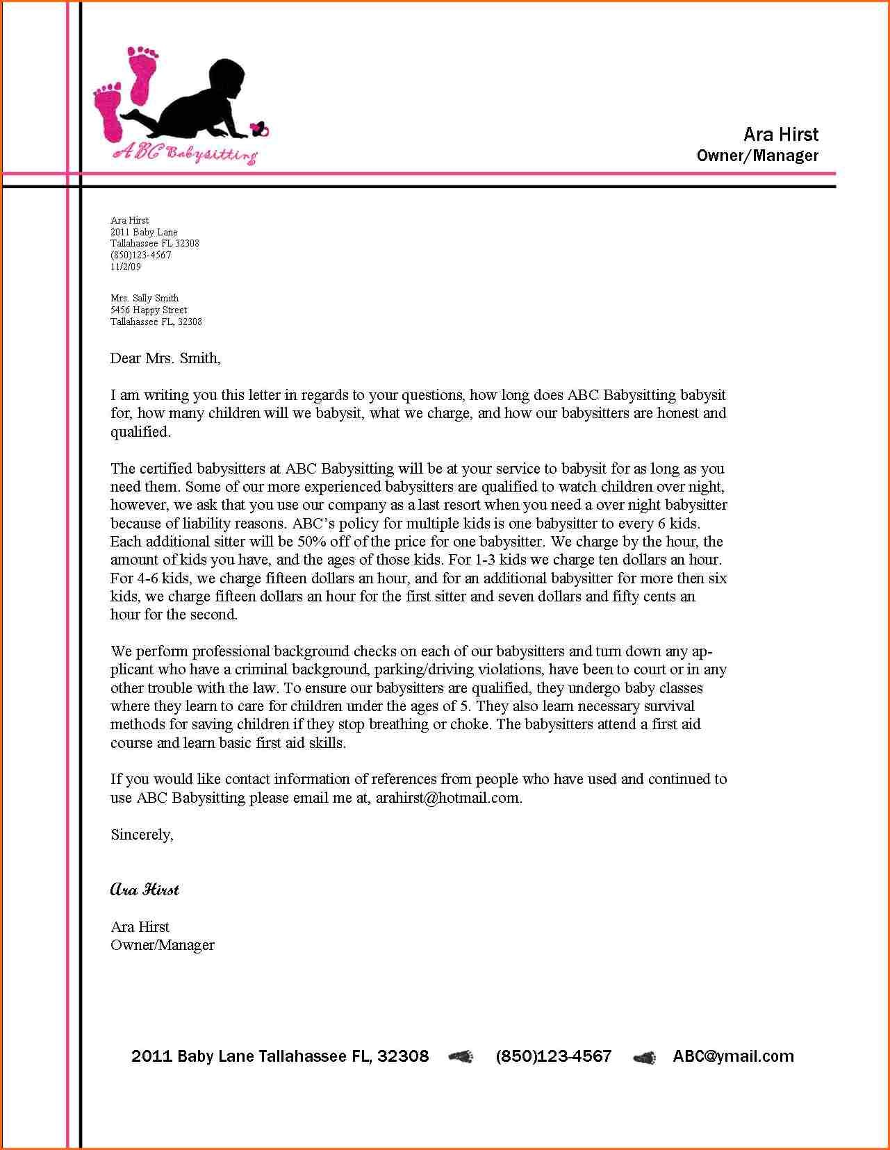 Business Letter Format Letterhead Example Alberta Education Links Samples  Student Writing