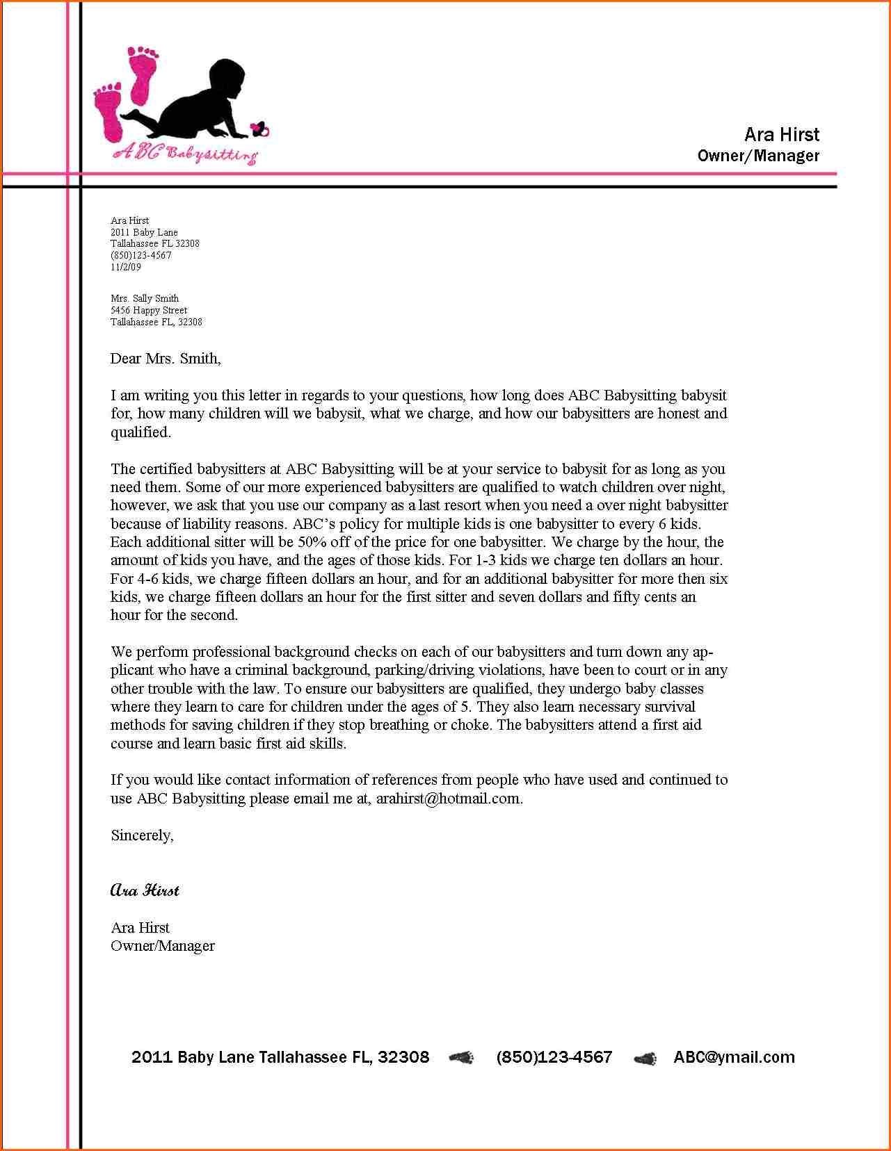 business letter format letterhead example alberta