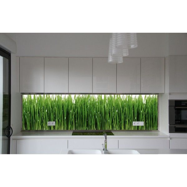 Custom splashback in Plexi or in Triplex glass - Green grass, from - küchenrückwände aus glas