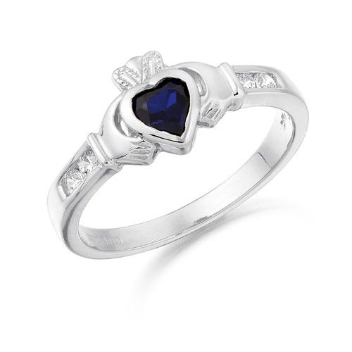 White Gold Faux Sapphire Petit Claddagh Ring Gold Claddagh Ring Claddagh Ring Wedding Celtic Wedding Rings