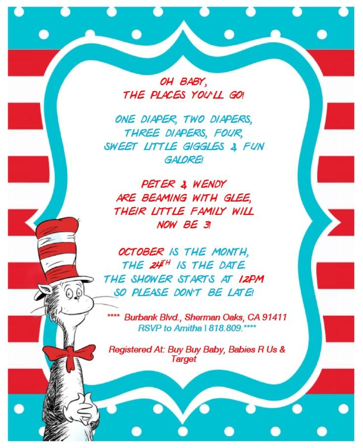 Dr. Seuss Baby Shower Invitation Free printable from http ...