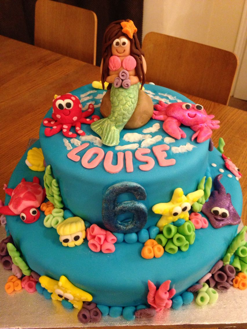 Coral Under The Sea Themed Mermaid Birthday Cake For A 6 Year Old