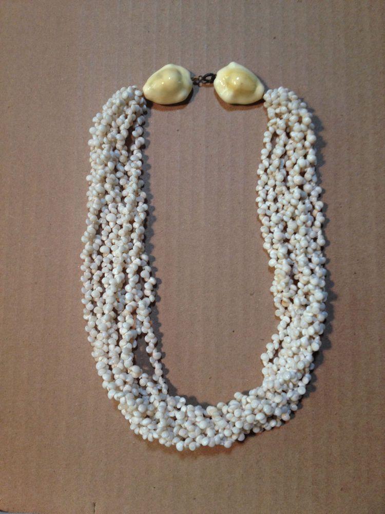 Old Hawaiian Lei Multi Strand Necklace Rare Ww2 Souvenir