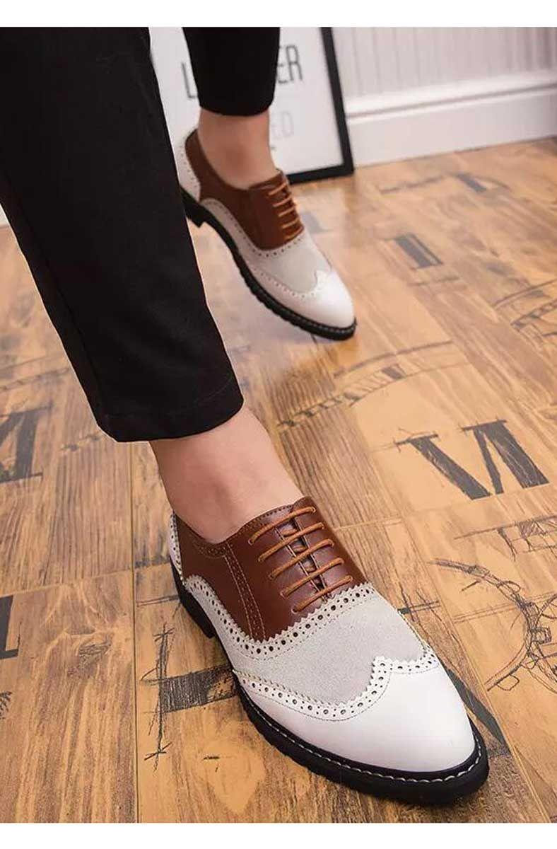 White Brown Retro Brogue Oxford Leather Dress Shoe White Leather Dress Shoes Dress Shoes Leather Oxfords [ 1200 x 788 Pixel ]