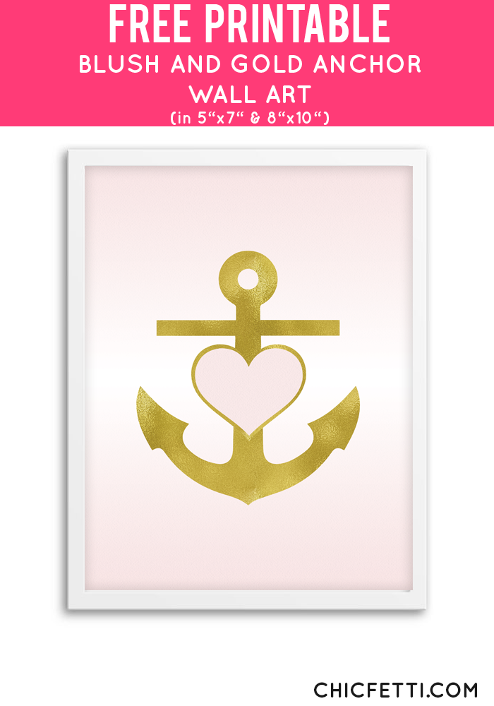 Free Printable Blush and Gold Anchor Art from @chicfetti - easy wall