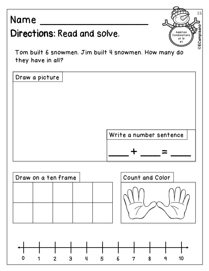 Addition Strategies For Word Problems Whole Packet Includes 10 Pages Of Winter Themed Word Problems Word Problem Worksheets Math Word Problems Math Words Word problems for kindergarten worksheets