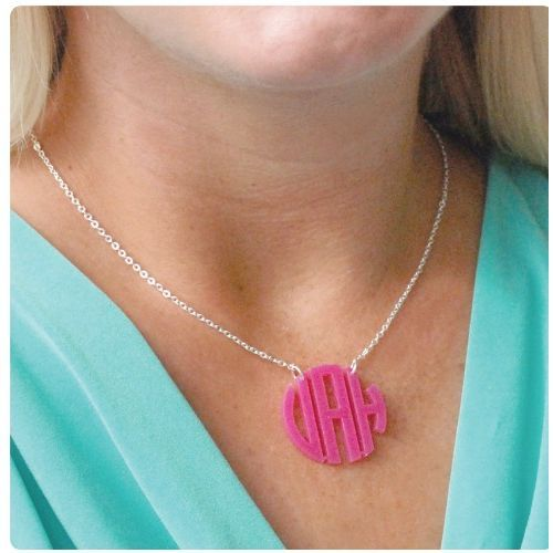 Round Monogram Acrylic Necklace $25 mrsmckenziesmonograms.com