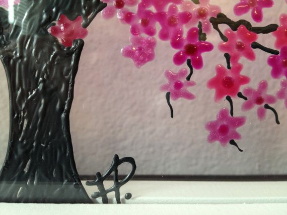 Pink Cherry Blossom Tree Glass Painting Stained Pink Cherry Blossom Tree Glass Painting Cherry Blossom Tree
