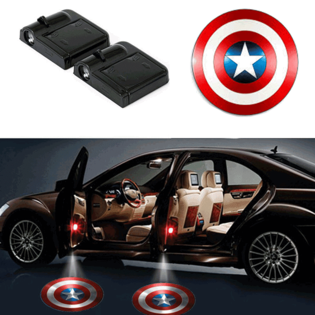 Captain America Wireless Led Car Door Laser Shadow Light Car Led Lights Batman Car Lighting Logo