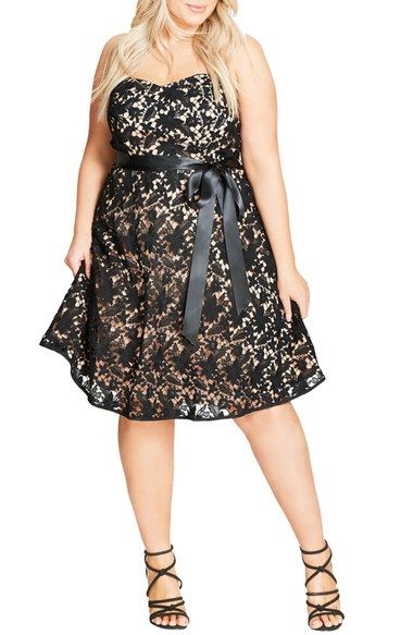 city chic so lovely strapless lace dress (plus size | city chic