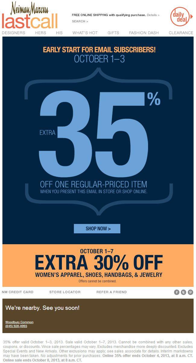 b3b181fa2 Neiman Marcus Last Call: 35% off Printable Discount   Email Blast ...