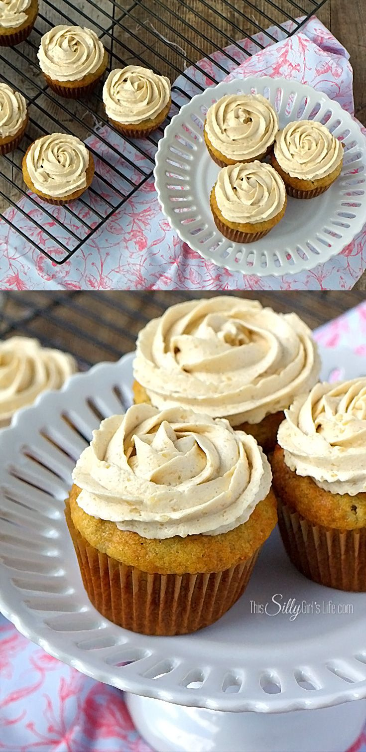 Banana Cupcakes with Brown Sugar Frosting, light, moist banana cupcakes are topped with THE BEST brown sugar frosting. Best. Cupcakes. Ever.
