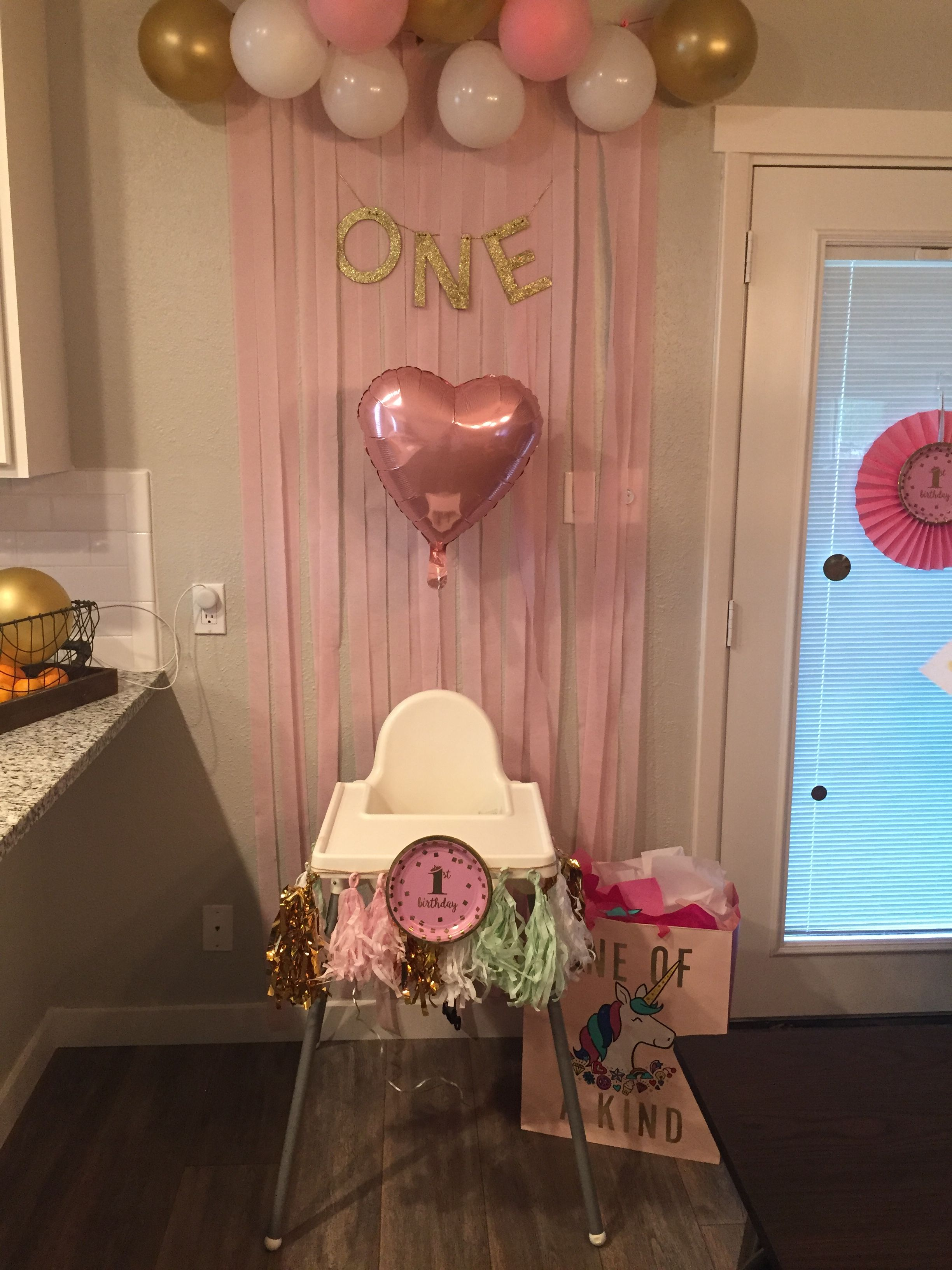 Simple One Year Old Decoration Birthday Party Baby Girl DIY Any Questions Message Me