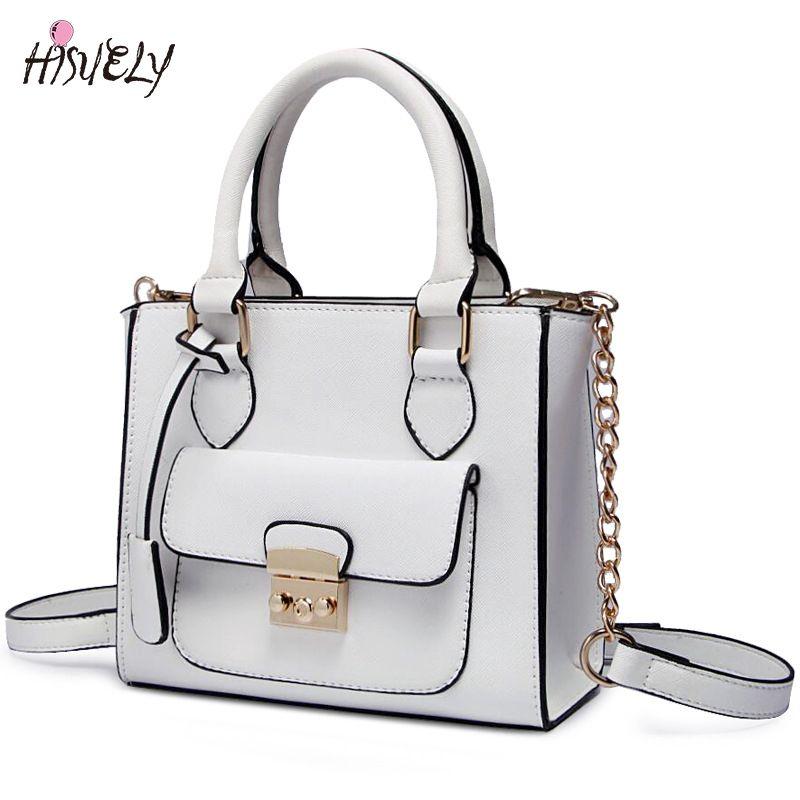 e7d716df73e5 HISUELY Hot Sale Candy Color Women PU Leather Bow Handbags Women Shoulder  Bags Fashion Bag Female
