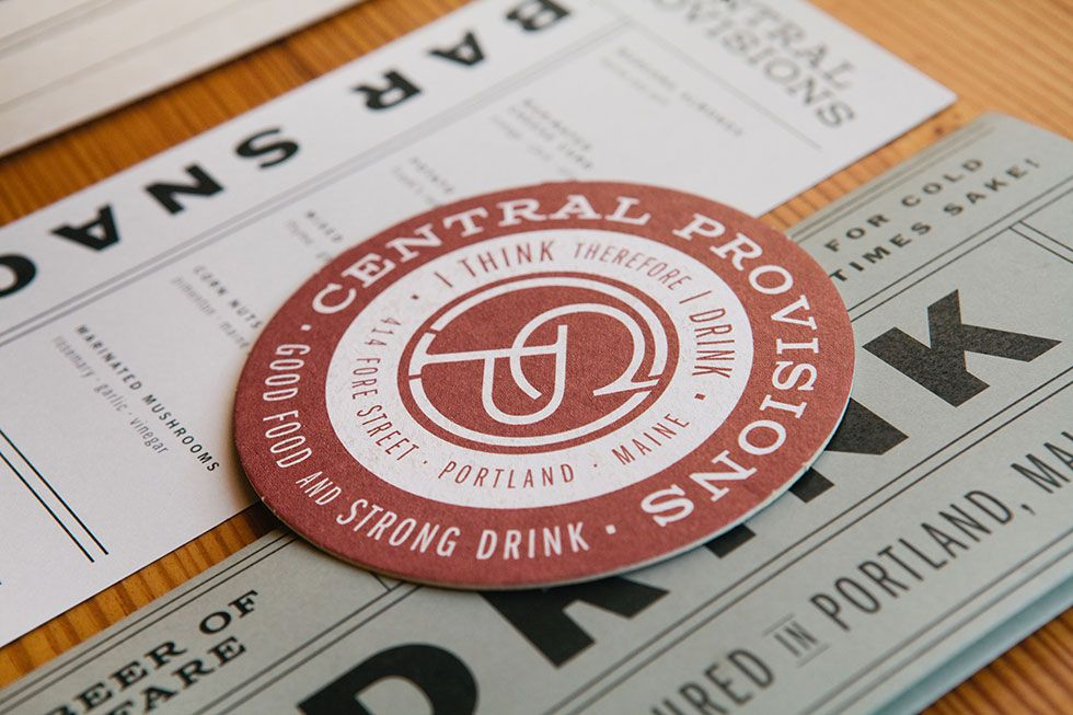 Identity for Central Provisions, a bar in Portland, ME, by the agency Might & Main. Great use of Columbia Titling typeface: http://http//myfonts.com/fonts/typetanic-fonts/columbia-titling/?refby=typetanic