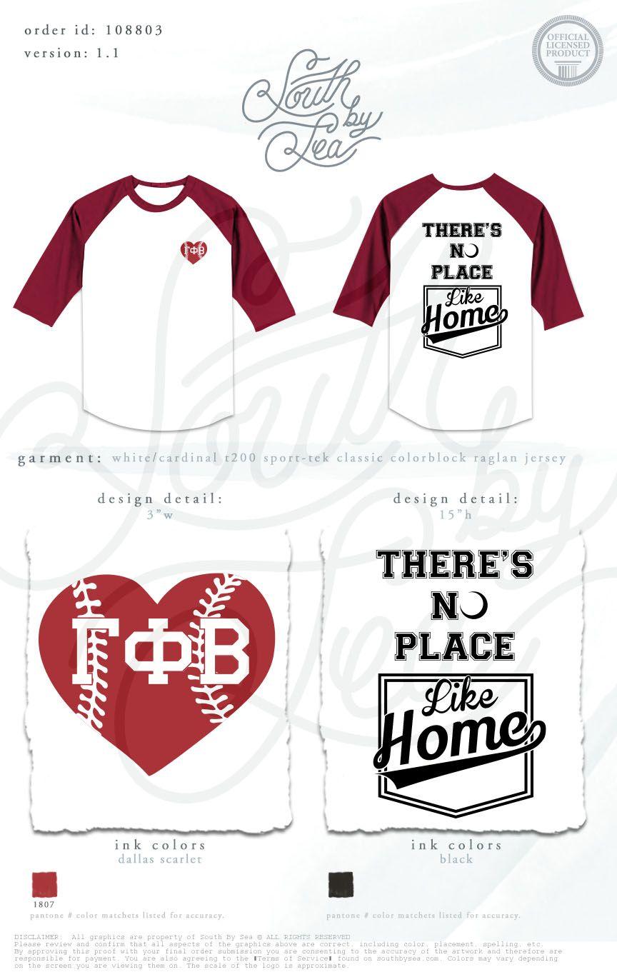 Gamma Phi Beta | G Phi B | Theres No Place Like Home | Baseball T