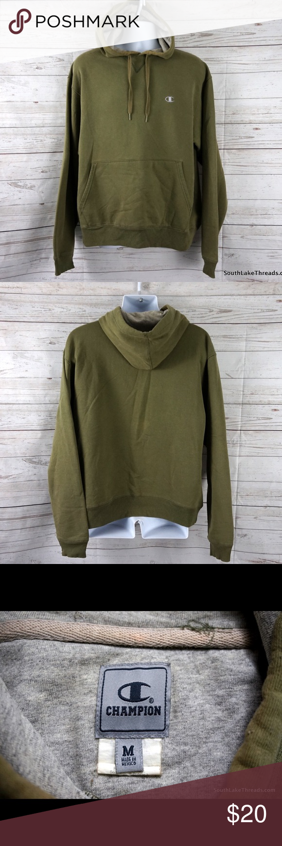 aeb6a5ba2f47 Champion Olive Green Hoodie Men s Medium Yeezy CHAMPION Olive Green Fleece  Heavy Knit Hooded Sweatshirt Men s