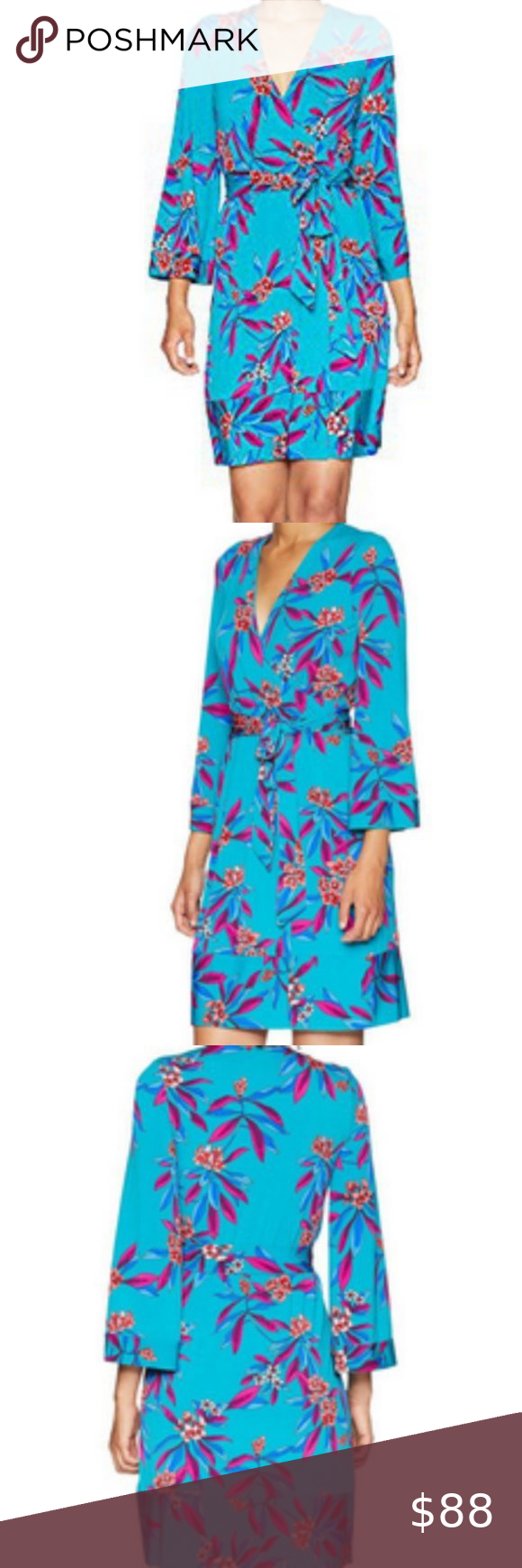 Photo of NWT Floral Print sz 8,12 floral Faux Wrap Dress new measurements size 12 on the …