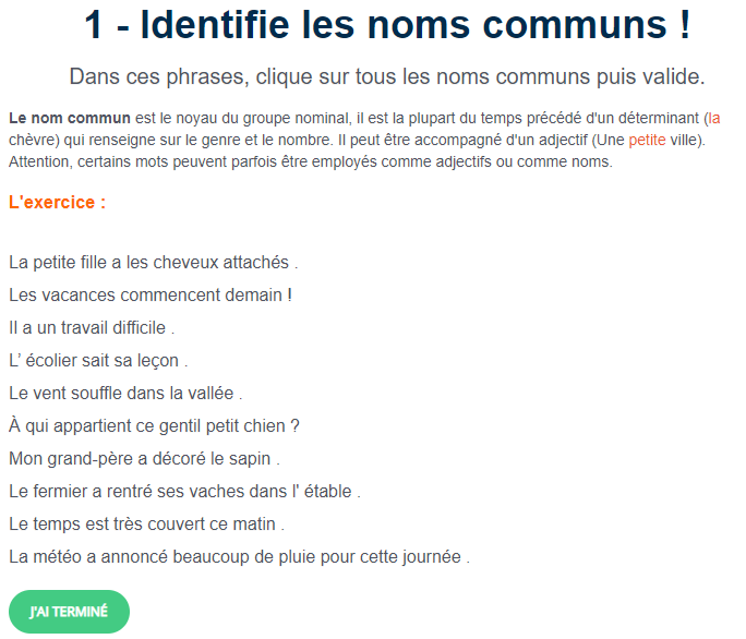 Exercice De Francais Identifie Les Noms Communs Exercice Francais Exercice Grammaire Jeux Educatifs En Ligne