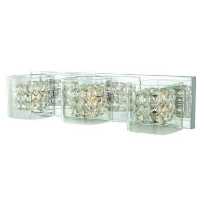 Home Decorators Collection Crystal Cube 3 Light Polished Chrome Vanity Light With Clear Glass