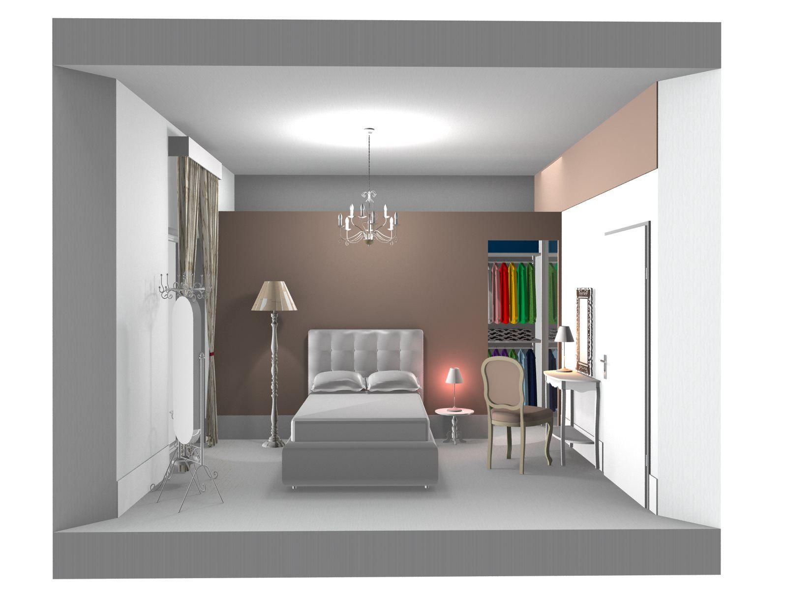 Prospettiva su parete letto camera con cabina armadio for Camera da letto in stile cabina
