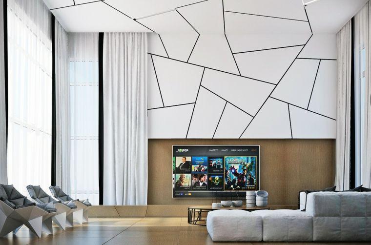 Pareti Soggiorno Grigio E Bianco : Soggiorno moderno con parete e soffitto bianco forme geometriche
