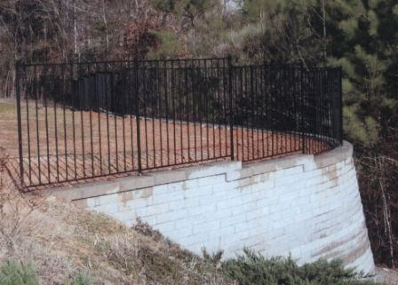 wrought iron fencing retaining wall