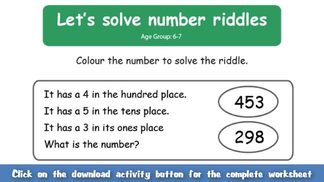 Solve Riddle Worksheet