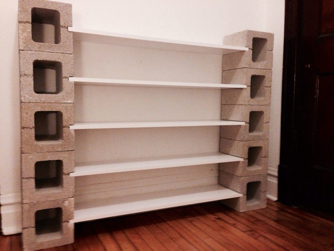 5 Tier White Polished Wooden Open Shelves With Unpolished Concrete