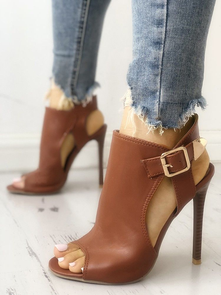 374cbbb55 Peep Toe Cut Out Buckled Thin Heeled Sandals in 2019
