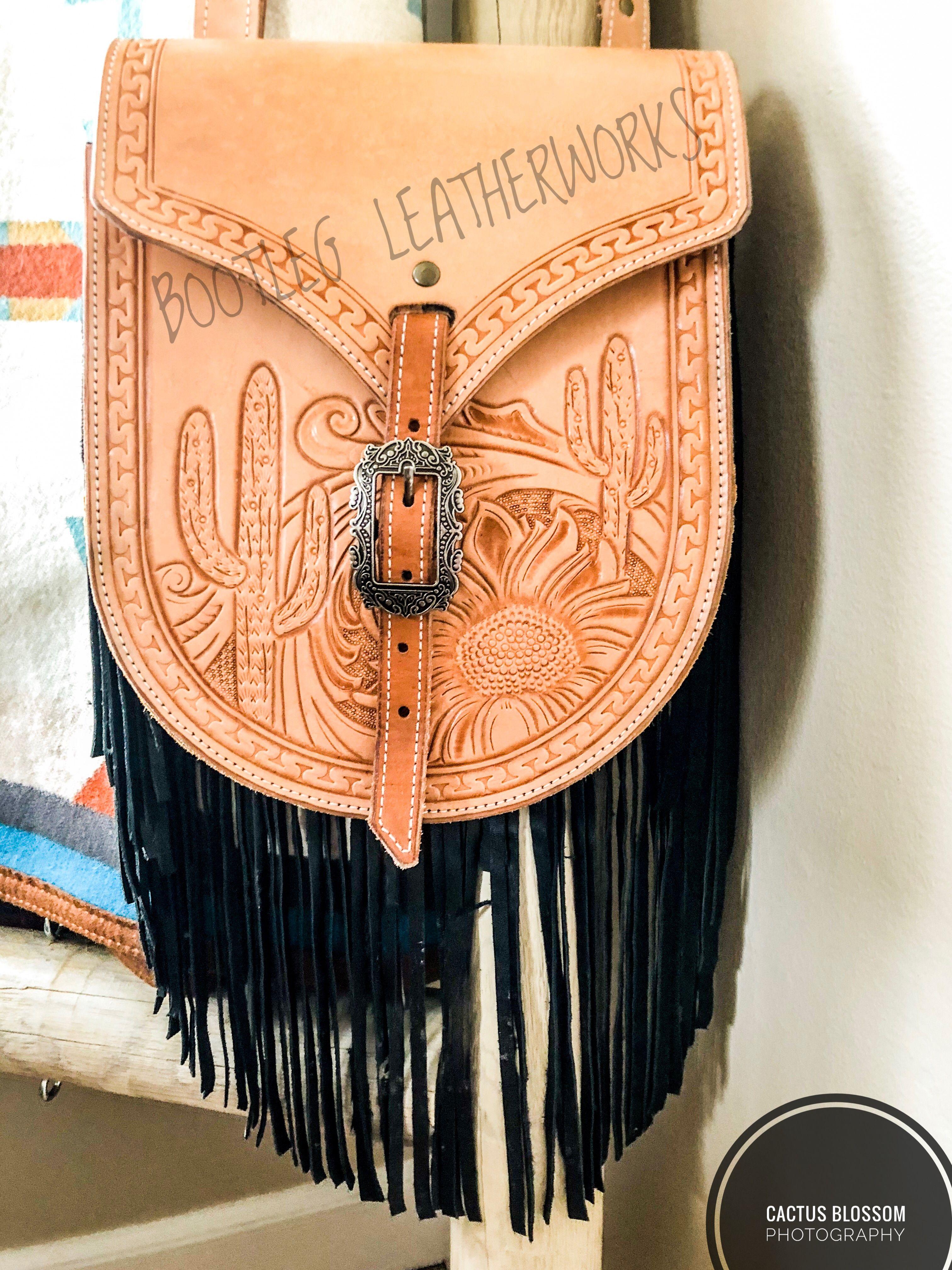 c7e494b7e0d7 Bootleg Leatherworks custom leather saddle bag purse with sunflowers,  cactus and fringe
