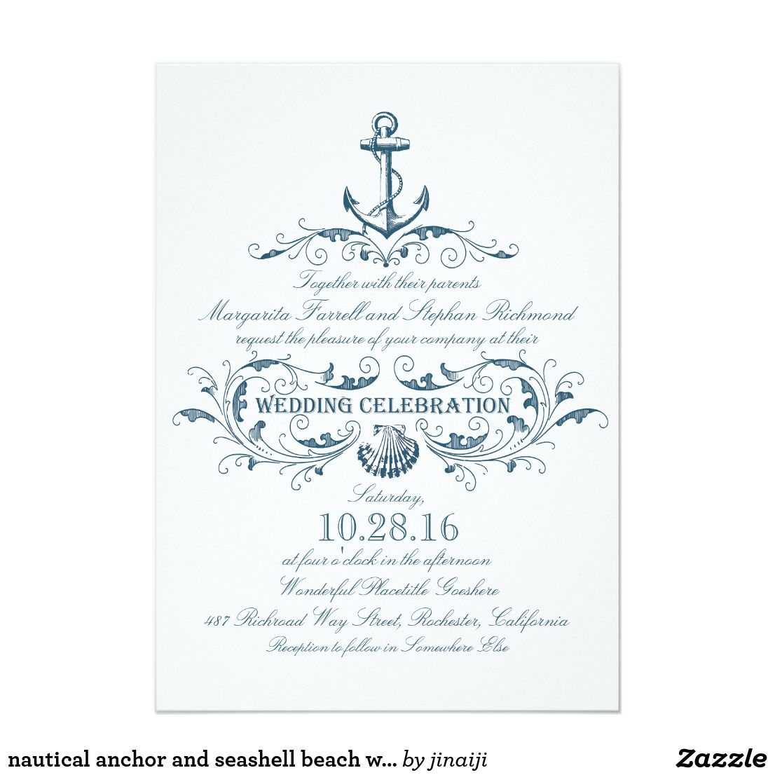 Nautical Anchor And Seashell Beach Wedding Invites Beach Wedding