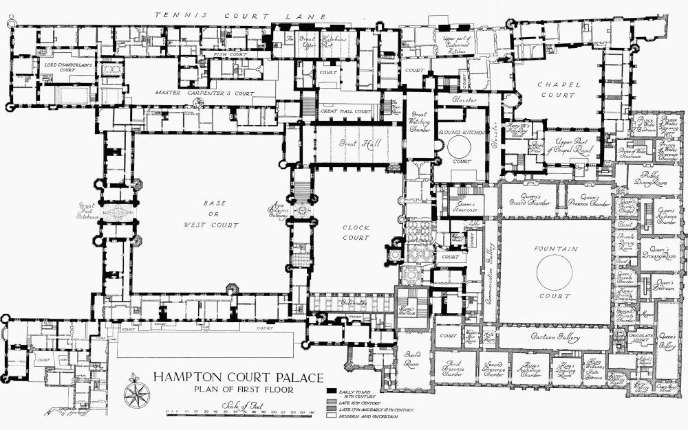 Plan 2 hampton court palace first floor british history for Palace plan