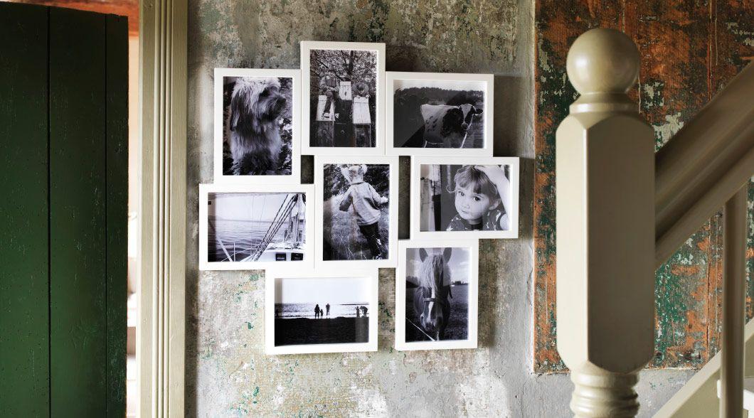 VÄXBO Collage-Rahmen für 8 Fotos in Weiß mit schönen Schwarz-Weiß ...