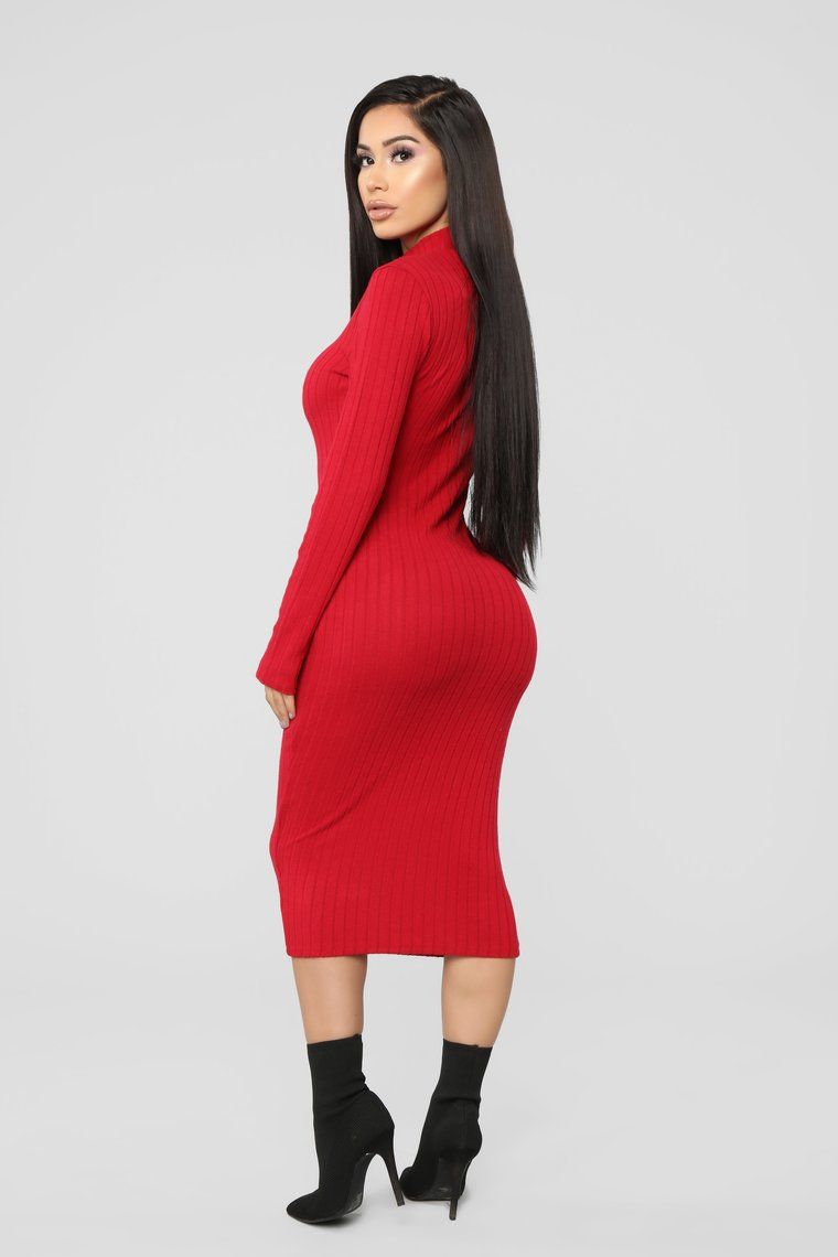 Not Over You Yet Sweater Dress Red Red dress, Sweater
