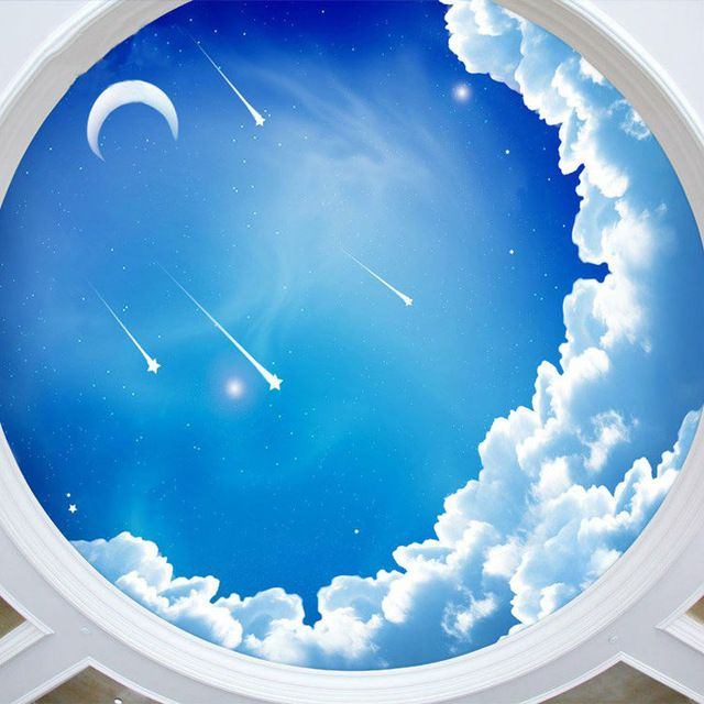 blue sky photo wallpaper 3d galaxy wallpaper stars moon ceiling bedroom kids room decor bar. Black Bedroom Furniture Sets. Home Design Ideas