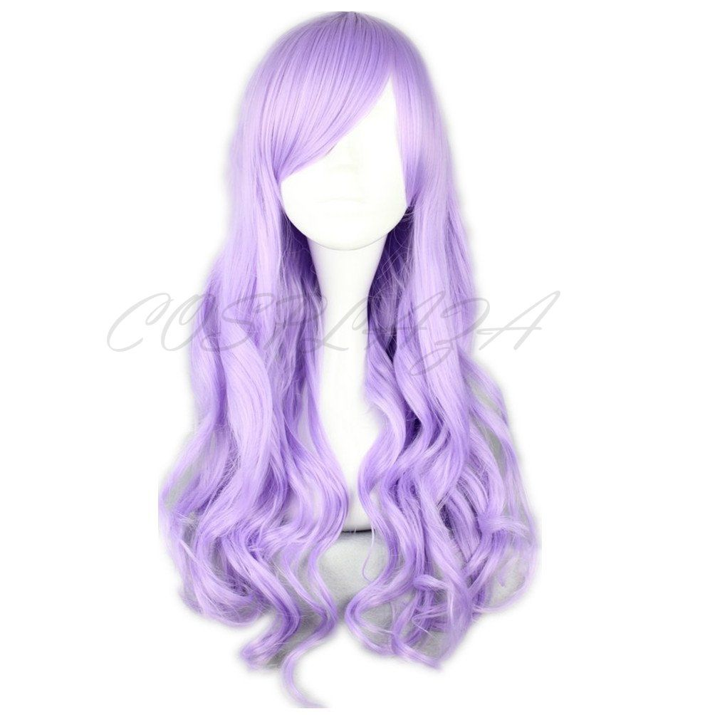 COSPLAZA Cosplay Wigs 70cm light Purple Long Wavy Curly Japanese Harajuku lolita Anime Show Party Hair