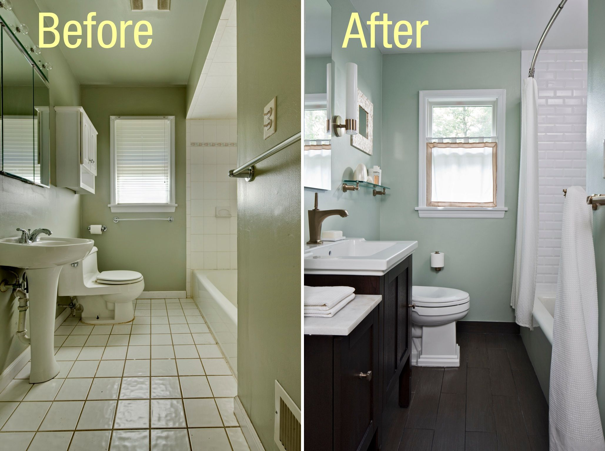 Remodeling A Small Bathroom On A Budget Bathrooms Budget Dark Floor Tiles Wooden Cabinets Also  Bathroom