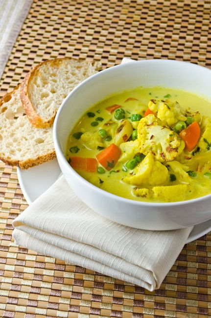 Curried Vegetable Soup with roasted cauliflower and garlic.