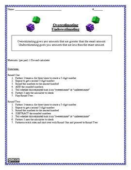 $1.00 ONLY! Overestimating and Underestimating Game and Activity Sheet
