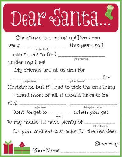 Printable Letter To Santa Madlib No Regrets Christmas Gift Games
