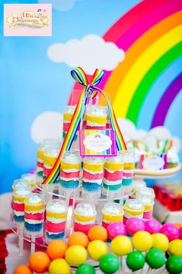 Girly rainbow 5th birthday party rainbow art party for 5th birthday decoration ideas